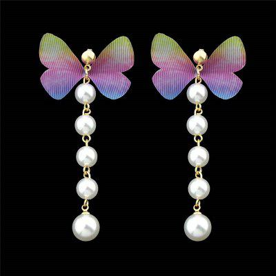 Faux Pearl Butterfly Drop Earrings