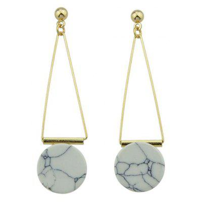 Faux Rammel Triangle Disc Drop Earrings