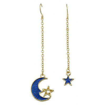 Moon Star Fish Hook Pendant Earrings