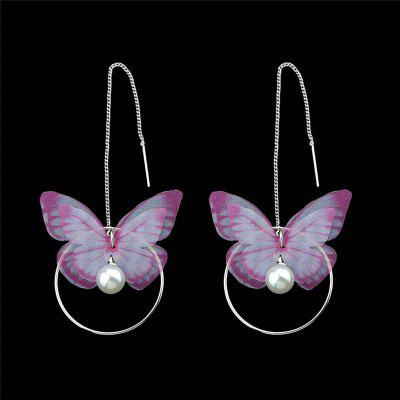 Faux Pearl Circle Butterfly Chain Earrings
