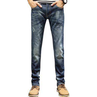 Buy DENIM BLUE 34 Zip Fly Straight Faded Jeans for $36.46 in GearBest store