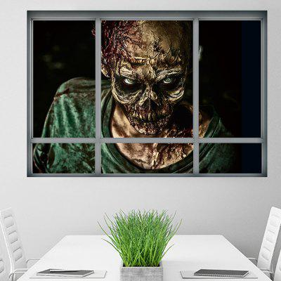 Halloween Window Zombie 3D Wall Art Sticker para quartos