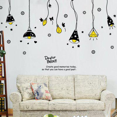 Cartoon Ceiling Lamp Removable Wall Art Stickers