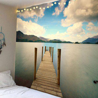 Buy COLORFUL Wooden Bridge Lake Mountains Waterproof Wall Tapestry for $16.45 in GearBest store