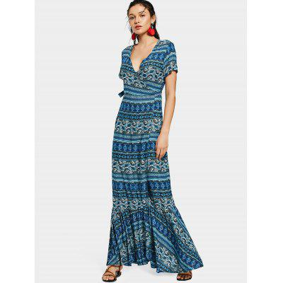 Wrap Printed Flounces Maxi Dress
