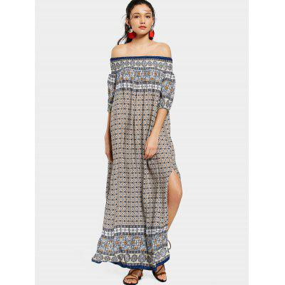 Off Shoulder Printed Slit Maxi Dress