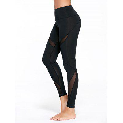 Buy BLACK S High Rise Mesh Panel Workout Leggings for $18.86 in GearBest store