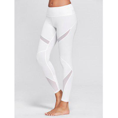 Buy WHITE S High Rise Mesh Panel Workout Leggings for $18.86 in GearBest store