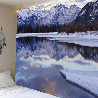 Buy COLORFUL Snow Mountains Ice Lake Forest Waterproof Wall Tapestry for $18.00 in GearBest store