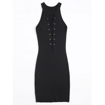 Lace Up Knitting Bodycon Dress