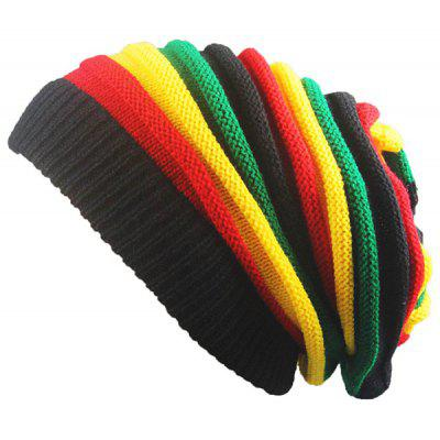 цены Folding Rainbow Stripe Knitted Beanie Hat