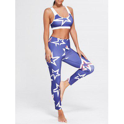 Stars Printed U Neck Bra and Sports Leggings