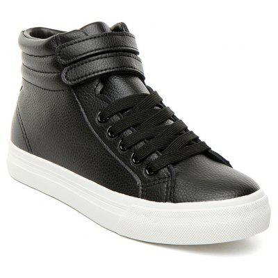High Top Faux Leather Athletic Shoes