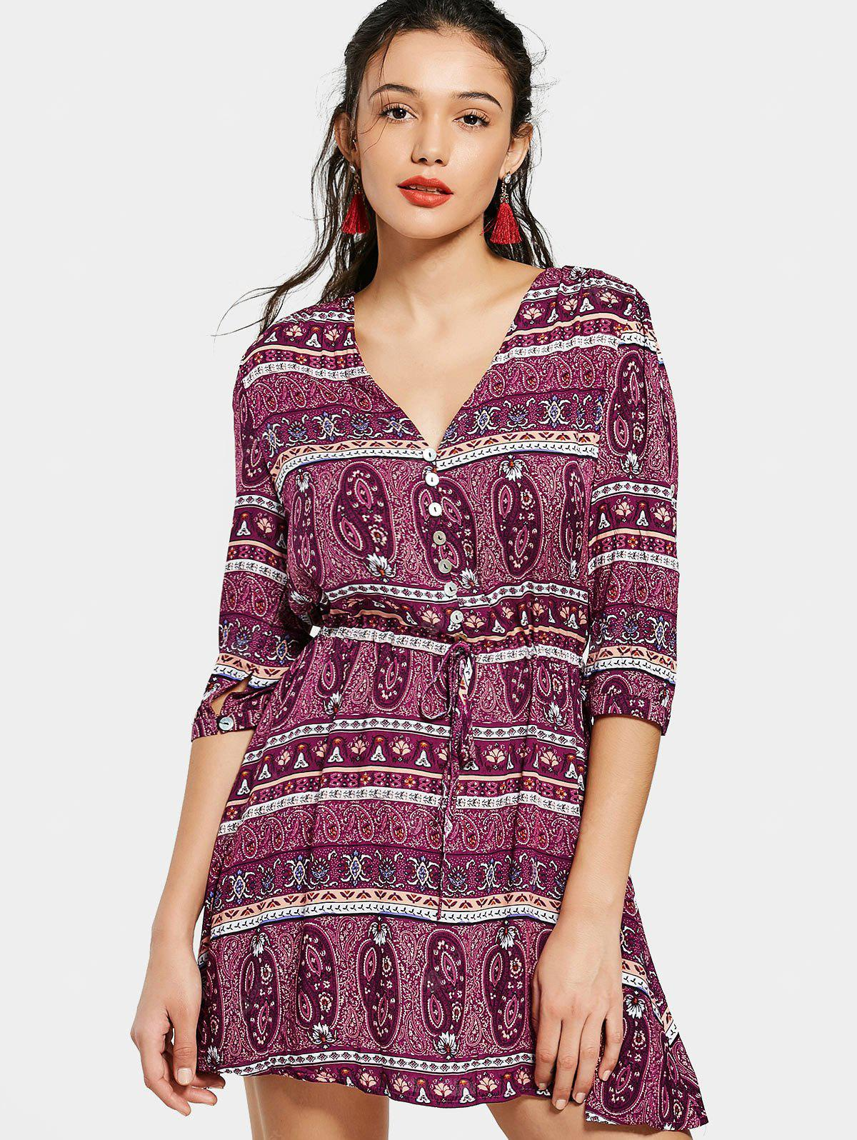 Half Buttoned Printed Belted Mini Dress
