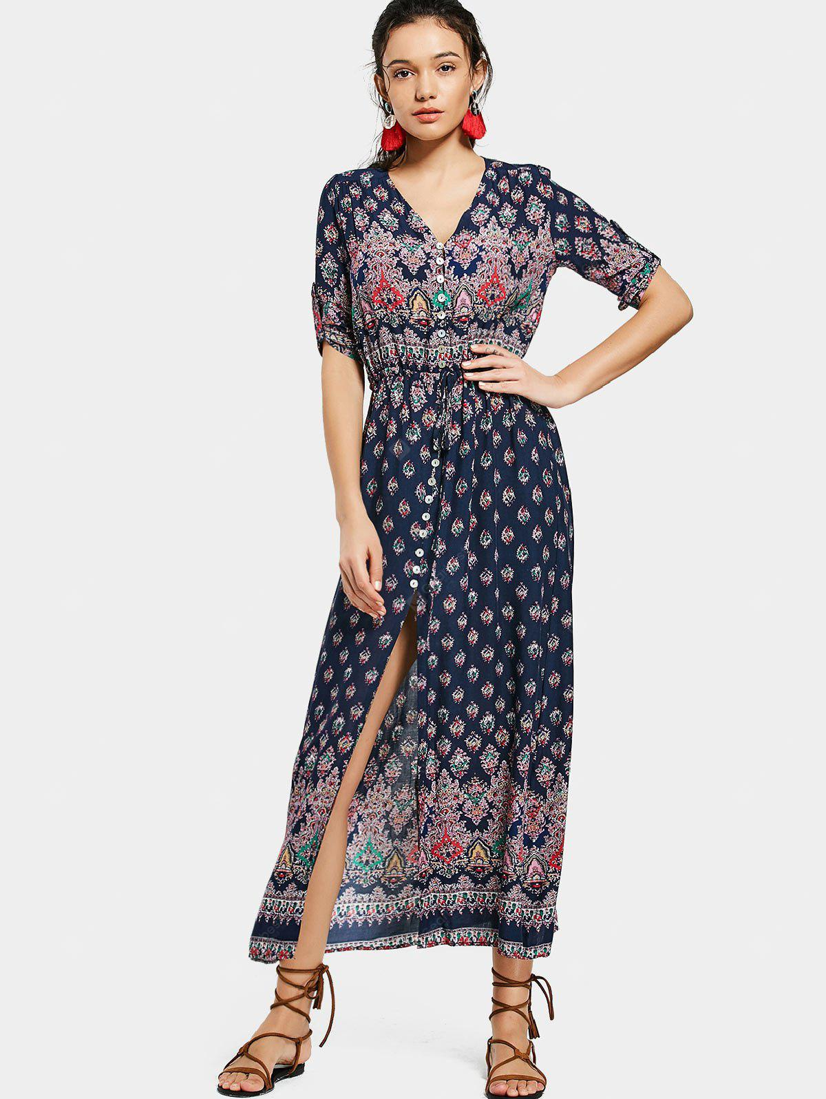 Button Up Printed Slit Maxi Dress