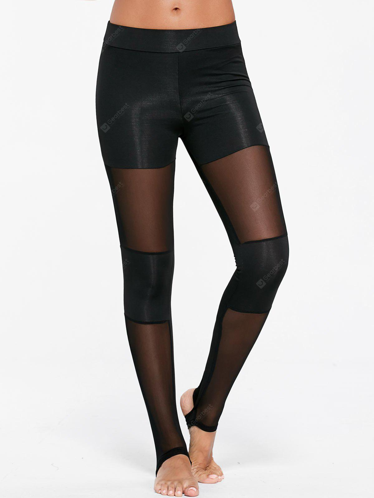 Sheer Mesh Insert Sports Stirrup Leggings