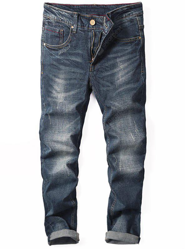 Tapered Fit Zip Fly Cuffed Jeans