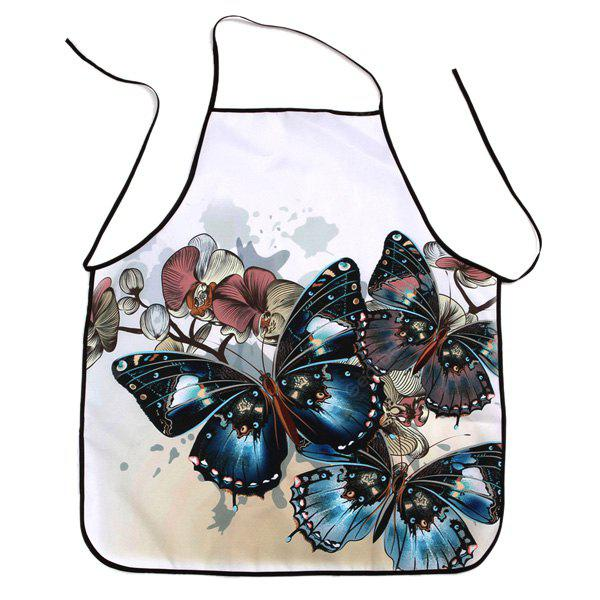 Vintage Butterfly Print Waterproof Cooking Apron COLORMIX