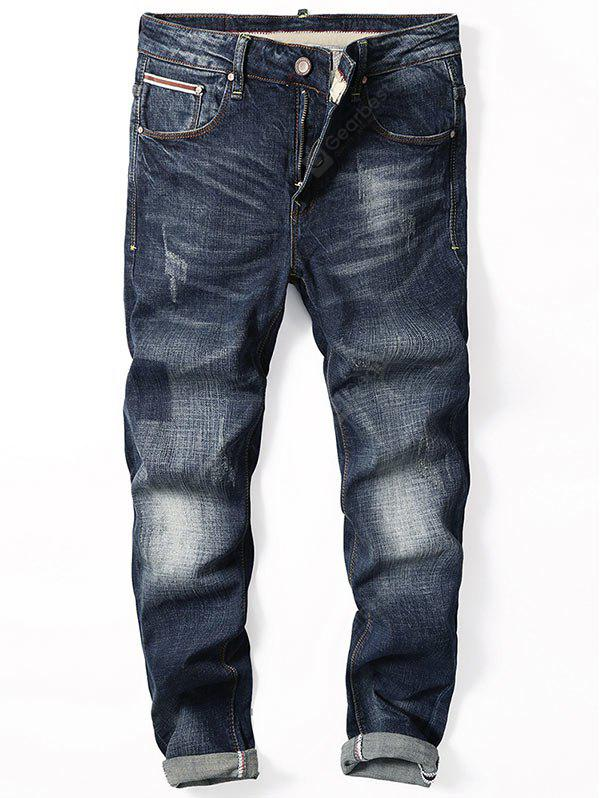 Zip Fly Straight Leg Cuffed Jeans