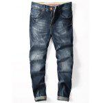 Zip Fly Tapered Cuffed Jeans - DENIM BLUE