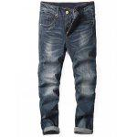 Tapered Fit Zip Fly Cuffed Jeans - DENIM BLUE