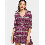 Half Buttoned Printed Belted Mini Dress - PURPLE