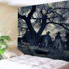 Halloween Gloomy Night Wall Hanging Tapestry - BLACK GREY