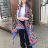 Ethnic Floral Pattern Cotton Blended Shawl Scarf - BLUE