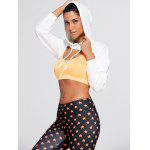Long Sleeve Open Front Sports Cropped Hoodie - WHITE