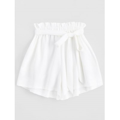 High Waisted Smocked Belted Shorts