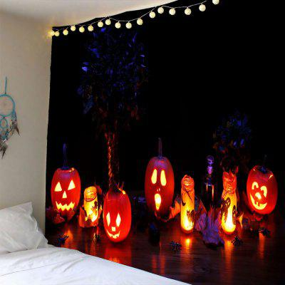 Buy COLORFUL Halloween Night Pumpkin Light Waterproof Wall Tapestry for $19.40 in GearBest store