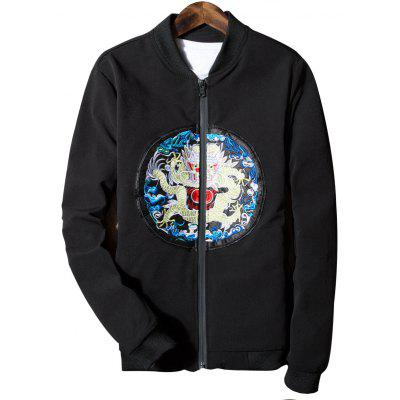 Buy BLACK L Stand Collar Dragon Embroidered Zip Up Jacket for $38.34 in GearBest store