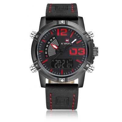 NAVIFORCE 9095 Luminous Faux Leather Strap Analog Digital Watch