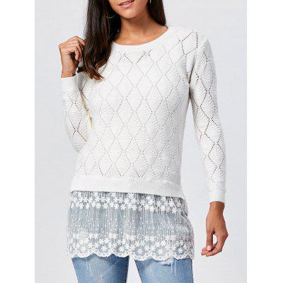 Lace Panel Hollow Out Argyle Ribbed Pullover Sweater 222107101