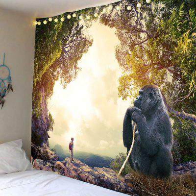 Buy COLORMIX Home Decor Gorilla Printed Wall Hanging Tapestry for $18.14 in GearBest store