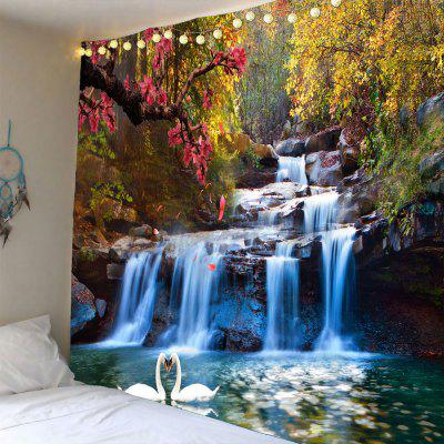Buy GREEN Swans Cascade Trees Waterproof Hanging Tapestry for $14.30 in GearBest store