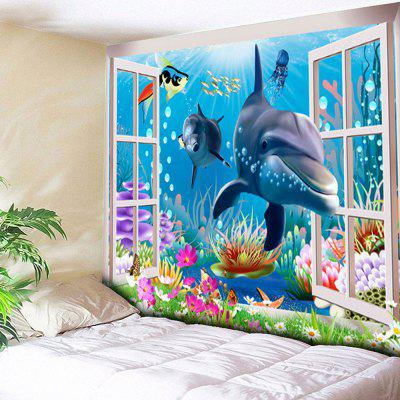 Buy BLUE Sea World Dolphin Print Wall Hanging Tapestry for $21.40 in GearBest store