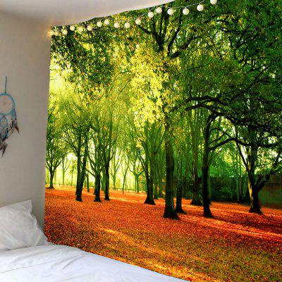 Buy GREEN Wall Decor Fallen Leaves Trees Hanging Tapestry for $18.00 in GearBest store