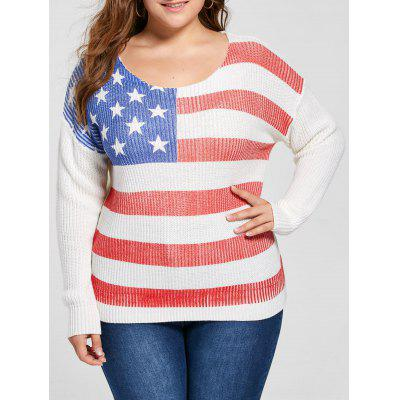 White Plus Size American Flag Sweater 4XL-$33.47 Online Shopping ...