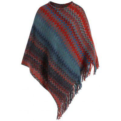 Plus Size Fringed Zigzag Poncho Sweater