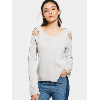 Ripped Shoulder V Neck Loose Sweater