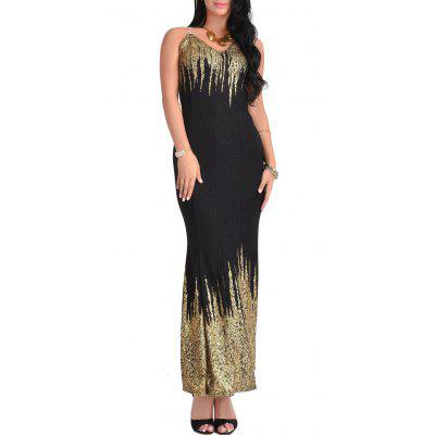 Buy BLACK L Printed Open Back Maxi Dress for $25.91 in GearBest store