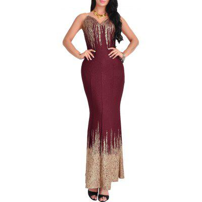 Buy WINE RED L Printed Open Back Maxi Dress for $25.91 in GearBest store
