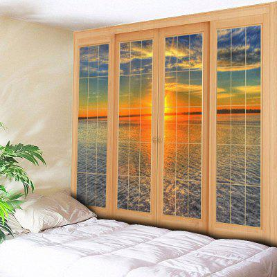 Buy COLORMIX Window Sea Print Wall Hanging Tapestry for $21.40 in GearBest store