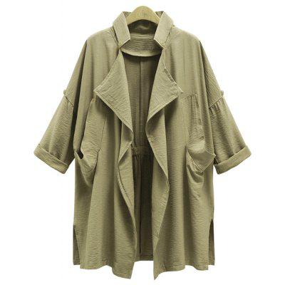 Buy KHAKI 2XL Drape Front Plus Size Trench Coat for $33.39 in GearBest store