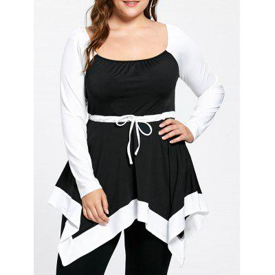 Buy BLACK WHITE 2XL Plus Size Long Sleeve Handkerchief Tunic Top for $18.44 in GearBest store