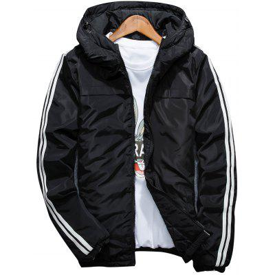 Hooded Stripe Zip Up Down Jacket
