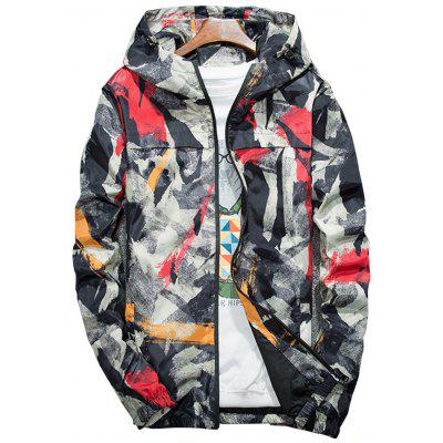 Hooded Camouflage Splatter Paint Lightweight Jacket