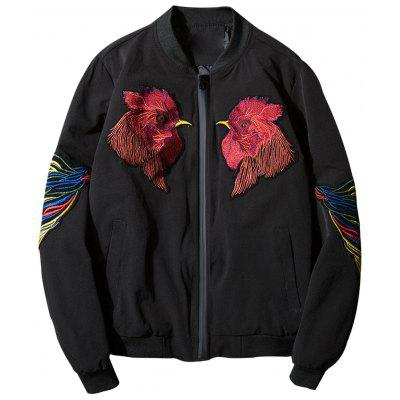 Stand Collar Cock Embroidered Zip Up Jacket
