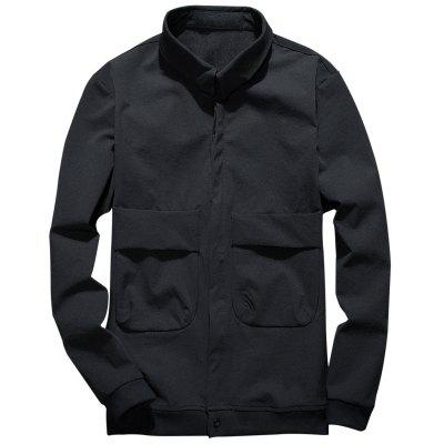 Cover Placket Double Pockets Cargo Jacket